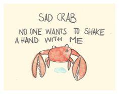 Sad crab, illustration