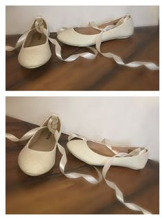 Women's WHITE or IVORY sparkly glitter ballet by CrystalCleatss