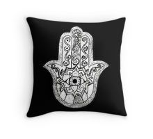 Monochrome Hamsa Throw Pillow by hausofophidia