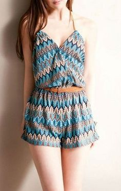 V-Neck Playsuit With Tribal Print | deepblue - Clothing on ArtFire