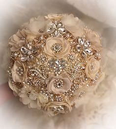 Cascading Pearl Gold Brooch Bouquet, Draping Pearl Wedding Bouquet, Ivory Gold and Blush Brooch Bouquet, Brooch Bouquet - DEPOSIT Gold Wedding Bouquets, Wedding Brooch Bouquets, Flower Bouquet Wedding, Bride Bouquets, Quince Decorations, Marie, Champagne Quinceanera Dresses, Ivory Silk, Flower Brooch