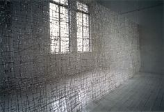 Chika Ohgi, Japan. From heaven to hell Size: 300(h) x 61 x 61cm 10 pieces Material: ganpi paper, ramie thread. Date: 1995