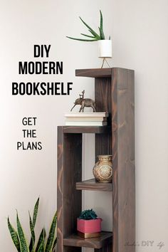 See how to build this simple and modern bookshelf with an eclectic look. Build an easy DIY bookshelf with plans, step by step tutorial and video. #woodworking #DIYshelf #AnikasDIYLife Diy Bookshelf Design, Diy Bookshelf Plans, Unique Bookshelves, Floating Bookshelves, Crate Bookshelf, Modern Bookshelf, Wood Bookshelves, Book Shelves, Diy Wood Projects