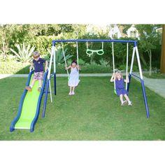Swing Set Metal Swingset Outdoor Playground Slide Backyard Playset Kids Sports  #SportspowerLimited