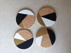 Custom design: Black Gold White Abstract 4 Round Cork Coasters by Eliza Cerdeiros. Set of 4 round (4) hand made coasters.    Can create any color