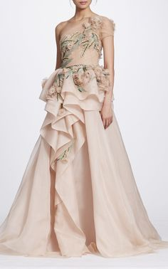 One Shoulder Gown with Organza Flowers by Marchesa Fall Winter 2018 Sequin Bridesmaid Dresses, Blush Pink Dresses, Prom Dresses, Long Dresses, Wedding Dresses, Marchesa Fashion, Marchesa Gowns, Tulle Ball Gown, Ball Gowns