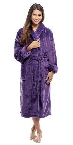 Tahoe Microfleece Shawl Collar Robe for women and Men - Purple -  C211LXZ03WD f1239817e