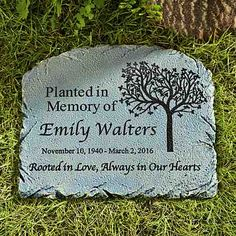 Rooted in Love Memorial Garden Marker A Personal Creations Exclusive! Memories of a loved one live on with this beautiful garden marker. It's the perfect complement to a tree planted in their honor. Memorial Garden Stones, Garden Stepping Stones, Diy Garden, Garden Tools, Garden Ideas, Garden Art, Garden Fences, Hillside Garden, Fence Ideas