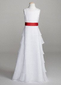This long tiered chiffon dress is a chic and stunning option for any flower girl! Organza tank bodice features long tiered chiffon skirt creating a dramatic look. Shown with sash Style S1041 (sold separately). Available in Solid Ivory. Fully lined. Back zip. Imported polyester. Dry clean.A sheer, flowing fabric that drapes well on the body.A sheer, flowing fabric that drapes well on the body.A delicate, sheer fabric, often layered or worn over another fabric because of its transparent…