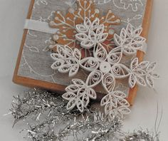 Quilled snowflake Christmas ornament - white with glitter snow- with decorated… Snowflake Cutouts, Snowflake Craft, Snowflake Pattern, Snowflake Ornaments, Quilling Christmas, Christmas Crafts, Christmas Ornaments, Christmas Snowflakes, Christmas Ideas