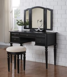 """Vanity w/ Stool F4072 $186  A fluid design of feminine accents and allure, This vanity set collections comes in a variety of wood finished colors. Each table features a foldout mirror with extensions on both sides to catch all the right angles. This also includes five-drawers for storage and a matching stool covered in a lavish plush fabric.   Dimensions  43"""" x 19"""" x 54""""H"""