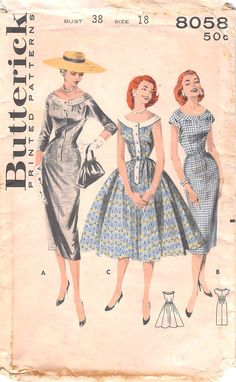 BUTTERICK 8058 - FROM 1957 - UNCUT - MISSES SCOOP YOKED DRESS & TWO SKIRTS
