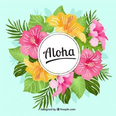 Free Aloha background with flowers and watercolor leaves SVG DXF EPS PNG Hawaiian Party Decorations, Aloha Party, Tropical Background, Watercolor Leaves, Flower Watercolor, Summer Wallpaper, Plant Drawing, Flamingo Party, Tropical Party