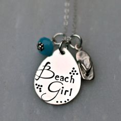 Hand Stamped Jewelry  Beach Necklace  by 3LittlePixiesShoppe, $58.00