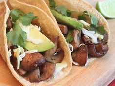 Mushroom Tacos with Cabbage Slaw.  Hearty tempeh stands in for meat in this rib-sticking (but not belly-sticking!) main dish.