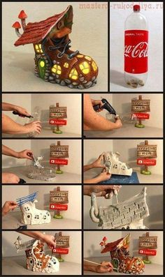 74 Ways to Reuse and Recycle Empty Plastic Bottles For Crafts Empty Plastic Bottles, Plastic Bottle Crafts, Plastic Plastic, Clay Fairy House, Fairy Garden Houses, Fairy Crafts, Garden Crafts, Garden Ideas, Upcycled Crafts