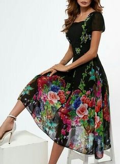Floral Long Sleeve Midi A-line Dress - Floryday - Damen Mode 2019 Affordable Dresses, Trendy Dresses, Casual Dresses, Fashion Dresses, Short Sleeve Dresses, Floryday Dresses, Women's Fashion, Women's Casual, Dresses Online