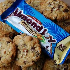 Almond Joy Cookies Sometimes you feel like a nut. These Almond Joy Cookies filled with coconut, chocolate, and almonds, taste like the famous candy bar, Enjoy! Cookie Desserts, Just Desserts, Cookie Recipes, Delicious Desserts, Snack Recipes, Dessert Recipes, Yummy Food, Cookie Bars, Dessert Ideas
