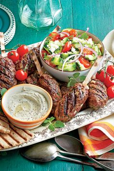 Quick Ground Beef Recipes: Spiced Beef Kabobs with Herbed Cucumber and Tomato Salad