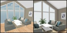COMPARE -- Living room design with floor to ceiling windows. Left: RoomSketcher; Right: RoomSketcher Pro... Decor from West Elm, Crate and Barrel & IKEA USA: http://planner.roomsketcher.com/?ctxt=rs_com 3D floor plans for a living room with panoramic windows and contemporary decor designed in RoomSketcher Floor Planner #floorplans #contemporary #livingrooms #floorplanner