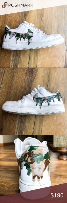 Custom Bape Drip AF1 Custom made AF1 Bape Camo Drip design made to order. (Can also do red or blue Camo pattern) Price includes the brand new shoe and custom job. Pair above are just my sample pair Prices may vary with custom requests. You can either pay on this app or through PayPal ($170) just email me at goplinz23@gmail.com! Ask about available sizes please! Nike Shoes Sneakers