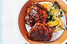 Fig Balsamic-Glazed Chicken Thighs. Looks perfect for barbecue season. I plan on making this even though the recipe only has a 2/5-star rating (based on two people). Ratings, particularly low ones, without reviews are so unhelpful.