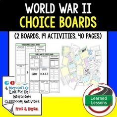 World War II Activity Choice Boards & Activity Pages with