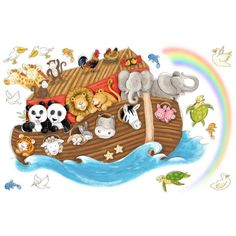 York Wallcoverings RMK2036SLM RoomMates Noah's Ark Peel & Stick Giant Wall Decal Multi Home Decor Wallpaper Wall Decals