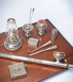 Silver opium set - China : pipe, lamp, box and miscellaneous opium tools