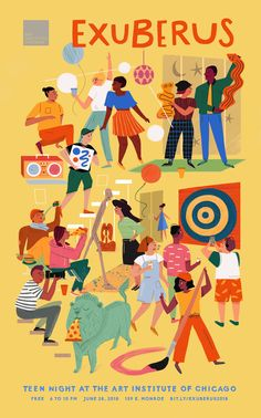 Art Institute of Chicago Teen Night - Art Illustration Art Drawing, People Illustration, Funny Illustration, Character Illustration, Graphic Design Illustration, Digital Illustration, Art Drawings, Night Illustration, Graphic Design Tutorials