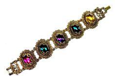 Bracelet Renaissance Victorian Style with Rhinestones Vintage