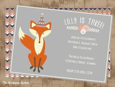 Whimsical Fox Birthday Printable Woodland Invitation | The Homespun Hostess
