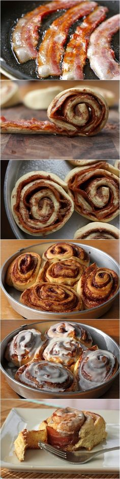 Bacon Cinnamon Rolls..... Genius idea, but sub the pre-made dough for a real food dough recipe.