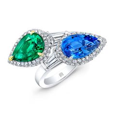 Pear Shaped Emerald and Sapphire Gem Stones set in Platinum #RahaminovDiamonds ♥≻★≺♥DIVINE!♥≻★≺♥