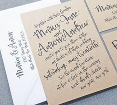 NEW Maria Black Script Rustic Kraft Wedding Invitation
