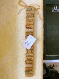 wine cork ideas/skinny kitchen memo board