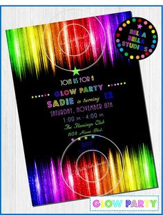 • • • ♥ Welcome to Bella Bella Studios ♥ • • • This custom invitation is part of the GLOW party collection by Bella Bella Studios. This