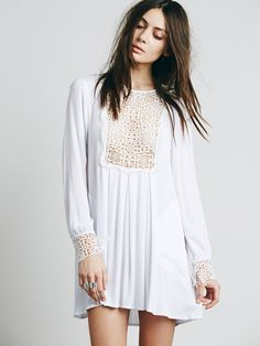 at Free People Lace Bib Pullover in ivory - this with a cami under it!