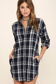 Manners matter, but so does looking extra cute in numbers like the Leaves and Thank You Navy Blue Plaid Shirt Dress! Flannel dress has button tab sleeves and pockets. Navy Shirt Dress, Button Down Shirt Dress, Flannel Dress, Plaid Dress, Plaid Flannel, Dress Shirts, Flannel Shirt, White Dress With Sleeves, Long Sleeve Cotton Dress
