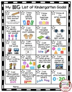 FREE kindergarten chart - Awards - Goals - Common Core Standards - Incentive Chart - I can statements #kindergarten #backtoschool