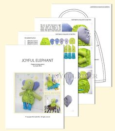 Elephant sewing pattern PDF Stuffed toy Softie by JoyfulRiver