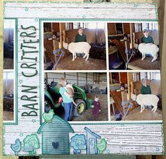Barn Critters with Connie! Hi, Connie here with a scrapbook page using PowderPuff Chalk Inks to stamp elements for the page.  The Canon iP8720 Printer created a collage, using some of my favorite photos, for this scrapbook page.