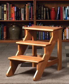 May try to build this with some oak I've got stored away.  Library Steps - Step Stool, Wood Step Stool, Library Step Stool - Levenger