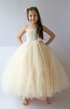 Double Layered Puffy Tutu Dress. Flower Girl Tulle Dress with Lace Stretch…