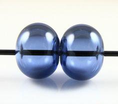 Sapphire Blue Lampwork Glass Hollow Bead Pairs