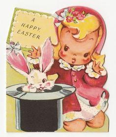 Vintage Greeting Card Easter UNUSED Girl Rabbit Top Hat Die-Cut A-Meri-Card a322