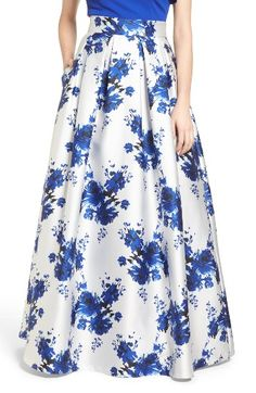 1950s Prom Formal Skirt Blue White Floral Long ballgown