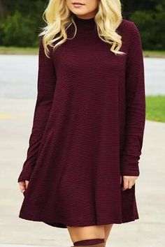 Striped Stand Neck Long Sleeve Dress