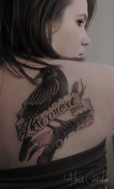 """""""nevermore"""" i think this is my favorite edgar allen poe inspired tattoo"""