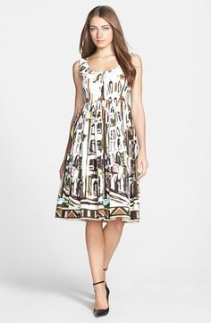 kate spade new york 'landscape' print stretch cotton fit & flare dress available at #Nordstrom